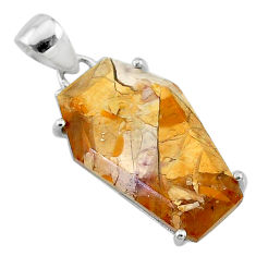 11.93cts coffin natural yellow brecciated mookaite 925 silver pendant t11882