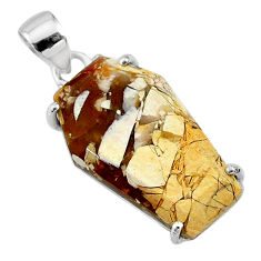 13.13cts coffin natural yellow brecciated mookaite 925 silver pendant t11883