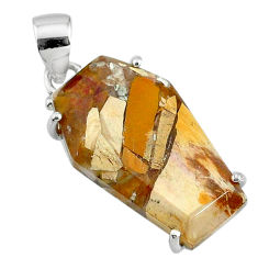 12.52cts coffin natural yellow brecciated mookaite 925 silver pendant t11886