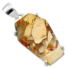 13.10cts coffin natural yellow brecciated mookaite 925 silver pendant t12046