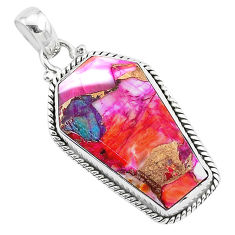 15.16cts coffin spiny oyster arizona turquoise 925 silver pendant r93223