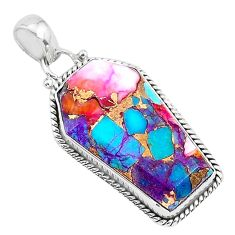 15.31cts coffin spiny oyster arizona turquoise 925 silver pendant r93230