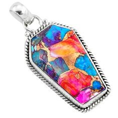 17.39cts coffin spiny oyster arizona turquoise 925 silver pendant r93248