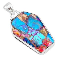 16.48cts coffin spiny oyster arizona turquoise 925 silver pendant t12966