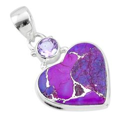 10.05cts copper turquoise amethyst 925 sterling silver pendant jewelry t4127