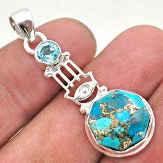 5.51cts copper turquoise hexagon topaz silver hand of god hamsa pendant t46428