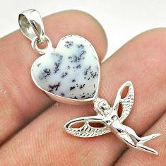 5.92cts dendrite opal (merlinite) 925 silver angel wings fairy pendant t55241