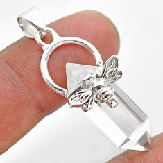 13.20cts double pointer natural crystal 925 silver honey bee pendant t44448