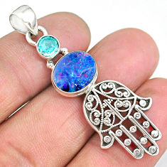 4.89cts doublet opal australian 925 silver hand of god hamsa pendant r90370