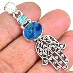 4.34cts doublet opal australian 925 silver hand of god hamsa pendant r90372
