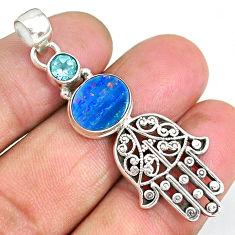 4.50cts doublet opal australian 925 silver hand of god hamsa pendant r90396