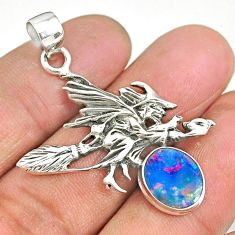 4.12cts doublet opal australian 925 silver pentacle witches broom pendant r90451
