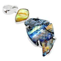 18.28cts ethiopian rough boulder opal carving 925 silver fish pendant t24052