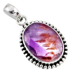13.63cts faceted cacoxenite super seven (melody stone) 925 silver pendant r60747
