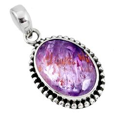 13.56cts faceted cacoxenite super seven (melody stone) 925 silver pendant r60759