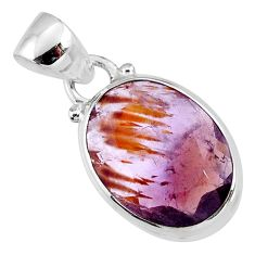 10.08cts faceted cacoxenite super seven (melody stone) 925 silver pendant r64439