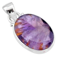 10.15cts faceted cacoxenite super seven (melody stone) 925 silver pendant t13041