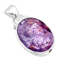 8.92cts faceted cacoxenite super seven (melody stone) 925 silver pendant t13057