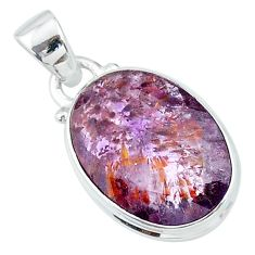 Faceted natural cacoxenite super seven (melody stone) 925 silver pendant t13060
