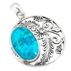 6.82cts fine blue turquoise 925 sterling silver flower pendant a88367 c13699