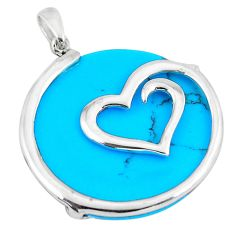13.69cts fine blue turquoise 925 sterling silver heart pendant a88669 c14583