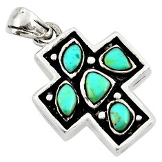 2.55cts fine blue turquoise 925 sterling silver holy cross pendant c26353