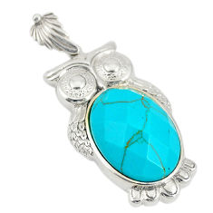 Fine blue turquoise 925 sterling silver owl pendant jewelry c21628