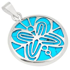 Fine blue turquoise 925 sterling silver pendant jewelry c21939