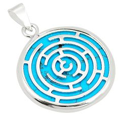 Fine blue turquoise 925 sterling silver pendant jewelry c23207