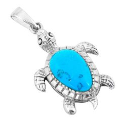 3.22cts fine blue turquoise 925 sterling silver turtle pendant a88499 c14783