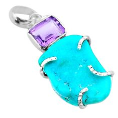 16.28cts fine blue turquoise amethyst 925 sterling silver pendant jewelry t41201