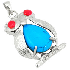 Fine blue turquoise coral 925 sterling silver owl pendant jewelry c12547