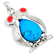 Fine blue turquoise coral 925 sterling silver owl pendant jewelry c12549