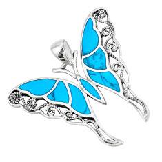 6.26gms fine blue turquoise enamel 925 silver butterfly pendant a88467 c14905