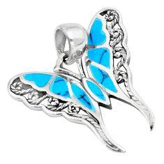 3.48gms fine blue turquoise enamel 925 silver butterfly pendant a88584 c14838