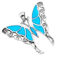 7.26gms fine blue turquoise enamel 925 silver butterfly pendant a91844 c14919