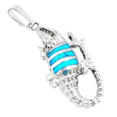 3.48gms fine blue turquoise enamel 925 silver crocodile pendant a93265 c13814