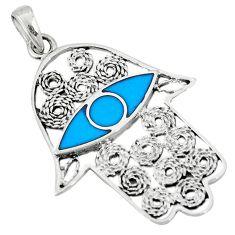 Fine blue turquoise enamel 925 silver hand of god hamsa pendant c12450