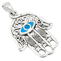 Fine blue turquoise enamel 925 silver hand of god hamsa pendant c12467