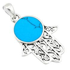 Fine blue turquoise enamel 925 silver hand of god hamsa pendant c12478