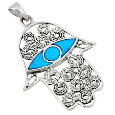 Fine blue turquoise enamel 925 silver hand of god hamsa pendant c22359