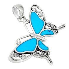 Fine blue turquoise enamel 925 sterling silver butterfly pendant a67746 c14925