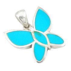 Fine blue turquoise enamel 925 sterling silver butterfly pendant a75773 c14835