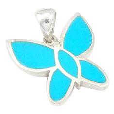 Fine blue turquoise enamel 925 sterling silver butterfly pendant a77568 c14837