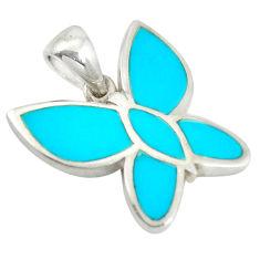 Fine blue turquoise enamel 925 sterling silver butterfly pendant a85439 c14833
