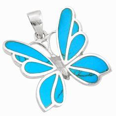 6.65gms fine blue turquoise enamel 925 sterling silver butterfly pendant c26345