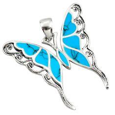 4.81gms fine blue turquoise enamel 925 sterling silver butterfly pendant c26346