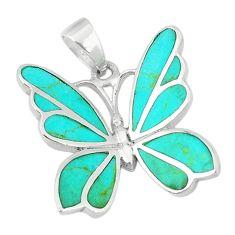 Fine blue turquoise enamel 925 sterling silver butterfly pendant jewelry c22753