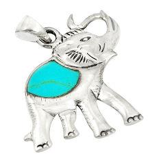 Fine blue turquoise enamel 925 sterling silver elephant pendant a79767 c13751
