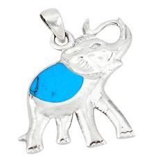 Fine blue turquoise enamel 925 sterling silver elephant pendant c12475